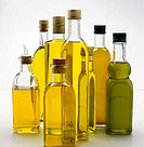 Olive oil bottles.