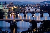 Charles Bridge (Karluv Most), Prague´s most famous, was built in 1357 by Emperor Charles IV on the site of an older bridge. On the left are (L. to R.)...