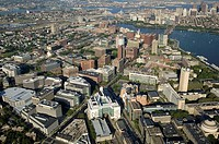 Aerial view. Kendall Square, Cambridge, Massachusetts (USA) towards Boston, Charles River