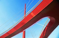 Red bridge. Barcelona, Catalonia, Spain