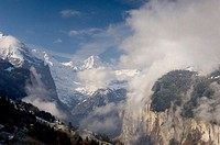 Lauterbrunnen Valley at dawn viewed from Wengen, Bernese Oberland, Switzerland, Europe