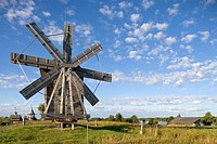 Wind mill from the village of Volkostrov, 1928, village of Yamka, wind mill. Kizhi Island. Onega lake, Karelia. Russia.