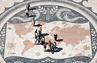World map as seen from the Monument to the Discoveries. Belem. Lisbon. Portugal.