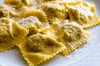 La Fragoletta Restaurant,  typical ´Tortelli di Zucca´. Mantova. Lombardy, Italy