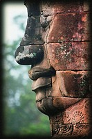 Stone head, Bayon Temple, Angkor Thom, Siem Reap, Cambodia