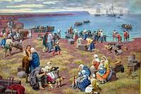 ´Le Grand Dérangement de 1755´. Oil painting by Claude Picard (1992). Musée d´Art et d´Histoire. Vauban Citadel. City of Le Palais (capital). Island o...