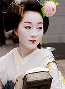 A geisha in Pontocho, a traditional Japanese night-time entertainment area. Kyoto. Japan.