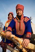 Sami (lapp) people. Sami experience in Boazo Sámi Siida. Alta. Finnmark. Lapland. Norway.