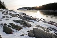 Frozen Sea. Norrfällsviken, Höga Kusten, coast of Baltic Sea, Västernorrlands län, Sweden, Scandinavia, Europe