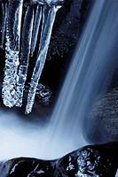 Icicles in a rapid in winter, whitewater. Mölltal, Hohe Tauern Region, Alps, Kärnten/Carinthia, Austria, Europe