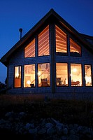 Nova Scotia Canada, illuminated wooden summerhouse at dawn