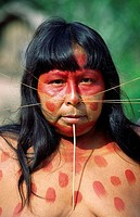 Matses woman of the Jaguar clan with whiskers. Loreto, Peru