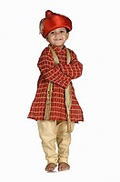 Boy in traditional peshwai dress.