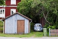 Wooden garage in Södra Norrland, Sweden, Scandinavia, Europe