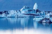 Iceland. Vatnajokull glacier. Iceberg at Jokulsarlon.