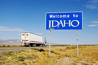 Welcome to Idaho Interstate 80 freeway sign as drivers enter the state, USA