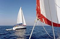 Sailing between islands. Southern Dalmatian coast. Croatia.