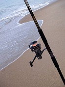 Rod and Reel on the Beach in Kill Devil Hills, NC, USA.