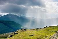 Rain squall in the Chugach Mountains near Thompson Pass, Alaska, USA