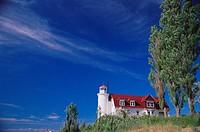 Point Betsie lighthouse by Lake Michigan. Michigan, USA