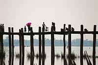 U Bein Bridge over Thaungthaman Lake. Mandalay Division, Myanmar (Burma)