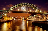Tyne Bridge at night in Newcastle upon Tyne, UK