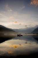 Sunrise over Lake Padarn Llanberis, Snowdonia, North Wales, UK