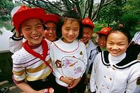 School children at West Lake park, Hangzhou. Zhejiang province, China
