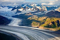 Aerial view of the Rohn Glacier flowing out of the Wrangell Mountains, Wrangell-St. Elias National Park, Alaska, USA