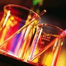 Two glass beakers