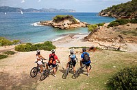 Group of cyclist at Alcudia, Majorca. Balearic Islands, Spain