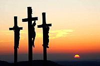 Three crosses on Kreuzberg mountain near Bischofsheim, Rhön, Franconia, Bavaria, Germany