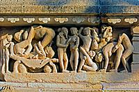 Erotic sculpture on Lakshmana Temple. Khajuraho. Madhya Pradesh, India