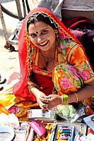 A beautiful Rajasthani woman in the local Bikaner market