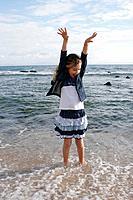 Girl on the beach, Tarifa. Cadiz province, Andalusia, Spain