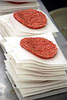 Hamburger patties, prepared food, meat factory, pre-shaped meat, meat production, meat processing plant