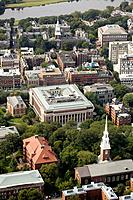 Harvard University aerial view. View over Harvard Yard and Widener Library to Lowell House and Charles River. Memorial Church bottom center. Cambridge...