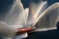 Fireboat spray, aerial view in Boston harbor,  Boston, Usa.