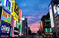 Japan, Osaka, Minami, Dotonbori District, urban street scene at night