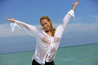 woman, young, blond, lake,clothing, blouse, wet, gesture,