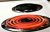 Red hot heating element on stove top