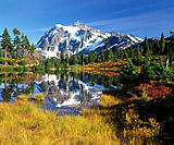 Mt. Shuksan from Picture Lake. North Cascades National Park. Whatcom County. Washington. USA