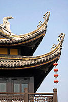Architectural detail of temple on Louxing Islet. Tongli. China