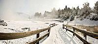 Yellowstone Lake area in winter, Yellowstone National Park, Wyoming, USA.