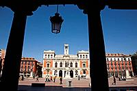Spain, Castilla Leon, Valladolid, Plaza Mayor, City Hall, people
