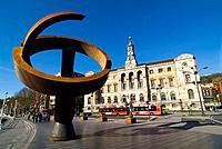´Variante ovoide de la desocupación de la esfera´, sculpture by Jorge Oteiza. City Hall. Bilbao. Bizkaia. Euskadi. Spain.