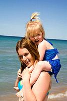 Mother and Child on Beach, Sandbanks Provincial Park, Ontario, Canada.