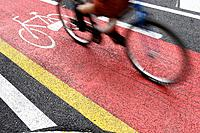 Bicycle lane, Barcelona. Catalonia, Spain