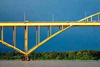The Port Mann Bridge spanning the Fraser River between Port Coquitlam and Surrey, BC, Canada