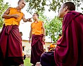 monks at practice in courtyard in india.